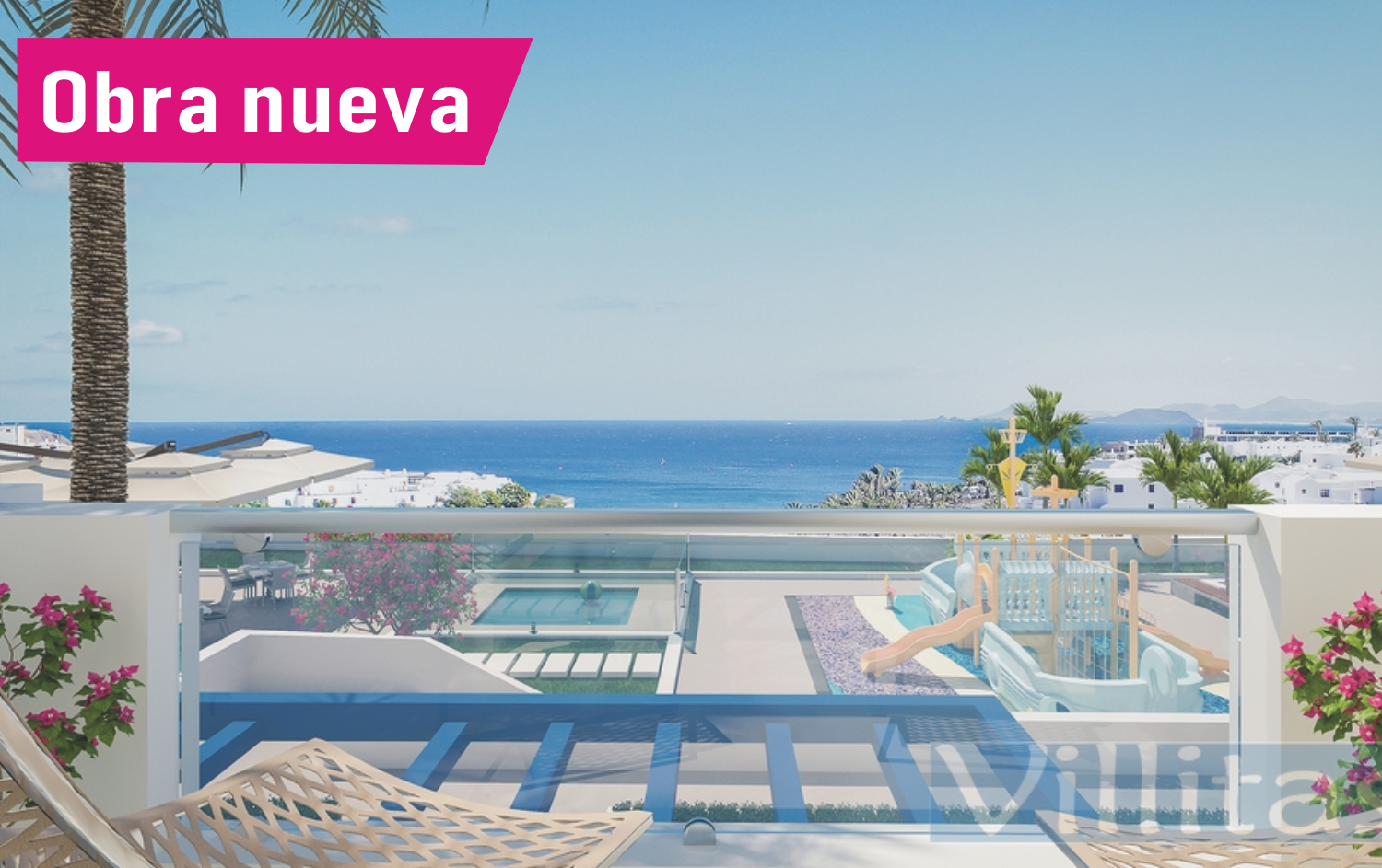 Sea view duplex c. pool for sale Playa Blanca